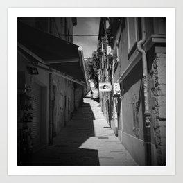 mountain biking stairs pula city croatia europe black white Art Print