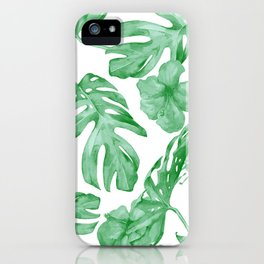 Tropical Island Leaves Green on White iPhone Case