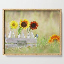 Country life sunflower idyll Serving Tray