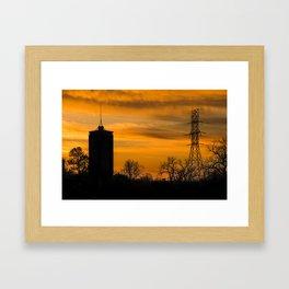 Tulsa Silhouettes and Golden Skies - University Tower Morning Framed Art Print