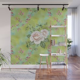 Pink vintage roses on aqua blue green washed watercolor Wall Mural