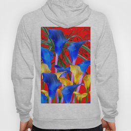 YELLOW & AZURE BLUE CALLA LILIES RED ART Hoody