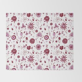 Pink and white floral with wild roses Throw Blanket