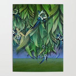 """Spring Forest of Surreal Leaf litter and flowers"" Poster"