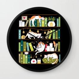 Library cats Wall Clock