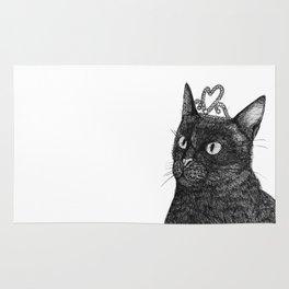 Nishi the Black Cat Wearing a Glittering Heart Tiara Rug