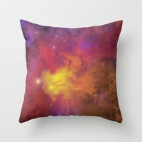 plain Throw Pillows featuring Nebula (plain) by Scarlet