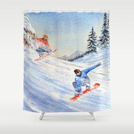 Snowboarders Shreddin' The Gnar Shower Curtain