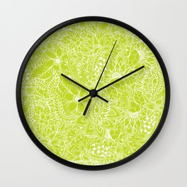 Modern white hand drawn floral lace illustration on lime green punch Wall Clock
