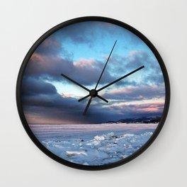 Storm Cloud Across Frozen Bay Wall Clock