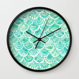 VENUS DE MER Aqua Mermaid Scales Wall Clock