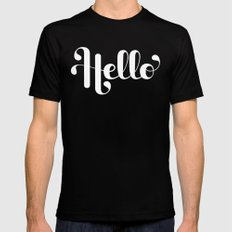Hello Lettering Mens Fitted Tee MEDIUM Black