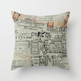 Vintage Map of The Roman Forum (1911) Throw Pillow
