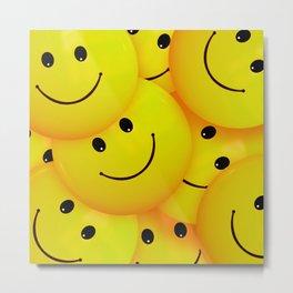 Fun Cool Happy Yellow Smiley Faces Metal Print