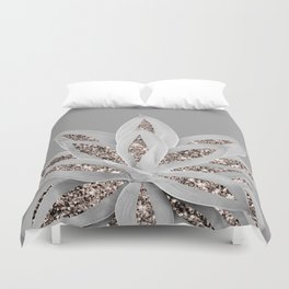 Gray Agave with Rose Gold Glitter #1 #shiny #tropical #decor #art #society6 Duvet Cover