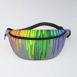 Rainbow Drips Gray Fanny Pack