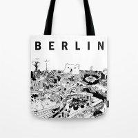 berlin Tote Bags featuring Berlin by Javier Medellin Puyou aka Jilipollo