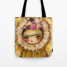 Frida In A Brown And Green Tehuana Mexican Traditional Dress Tote Bag