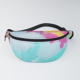 Blooms in storm- abstract pink, blue and teal  Fanny Pack