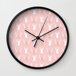 Deer head silhouette with antler flower floral bouquet minimal nursery home decor Wall Clock