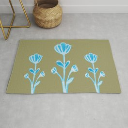 Olive Blue Meadow Flowers Rug