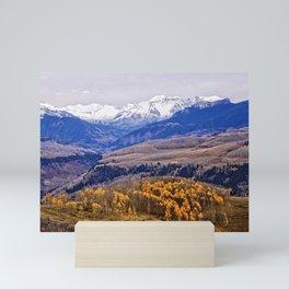 Mountain majesty and autumn gold Mini Art Print