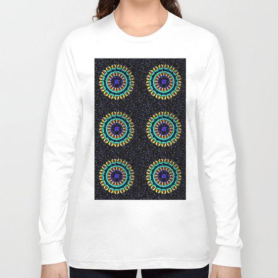 Kaleidoscope Patterns Against Black Long Sleeve T-shirt