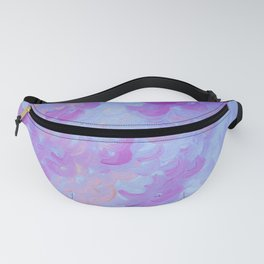 PURPLE PLUMES - Soft Pastel Wispy Lavender Clouds Lilac Plum Periwinkle Abstract Acrylic Painting  Fanny Pack