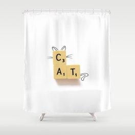 Cat Scrabble Shower Curtain