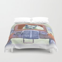 Raccoon Driving Old Red Truck Duvet Cover