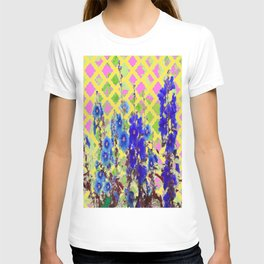 Yellow Garden Lattice with Blue Color Hollyhocks and Pink Wall T-shirt