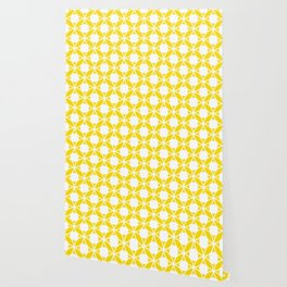 Geometric Floral Circles Summer Sun Shine White on Bright Yellow Wallpaper