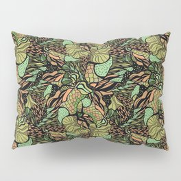 Abstract pattern with scale, waves and plants Pillow Sham