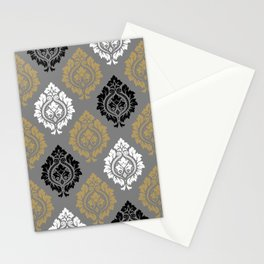 Decorative Damask Pattern BW Gray Ochre Stationery Cards