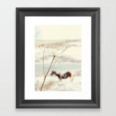 Winter Weeds + Blurry Horse Framed Art Print