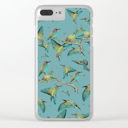 The birds and the bees pattern on blue Clear iPhone Case