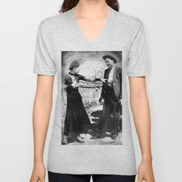Painting Of Bonnie and Clyde Mock Robert Photo Unisex V-Neck