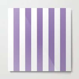 Lavender purple - solid color - white vertical lines pattern Metal Print