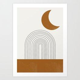 Moon by the city Art Print