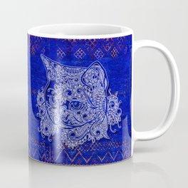 (N20) Tribal Cute Cat Hand Drawing, Traditonal Moroccan Carpet Background Coffee Mug