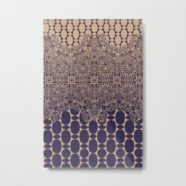 floral border with geo mix monochrome Metal Print