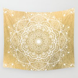 NATURE DETAILS MANDALA IN GOLD Wall Tapestry