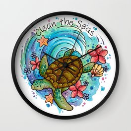 Clean the Seas Turtle Design Wall Clock