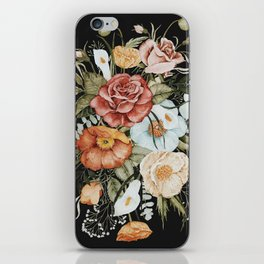 Roses and Poppies Bouquet on Charcoal Black iPhone Skin