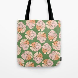 Tropical Green and Coral Leaves Tote Bag