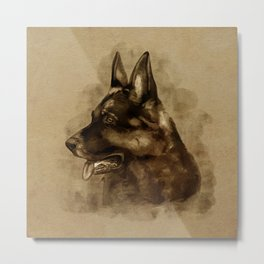 German Shepherd Dog - GSD Portrait Metal Print