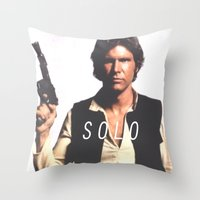 han solo Throw Pillows featuring Han / Solo by Earl of Grey