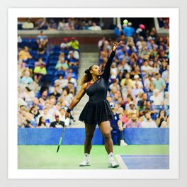 Serena Williams Serving Art Print