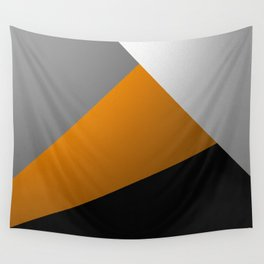 Metallic I - Abstract, geometric, metallic textured gold, silver and black metal effect artwork Wall Tapestry
