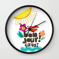bonjour Wall Clocks featuring Bonjour! by Daily Thoughts